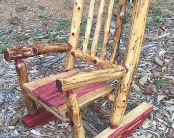 Baby Bear Cedar Log Rocking Chair   Toddler Rocking Chair   Rustic Toddler  Rocker