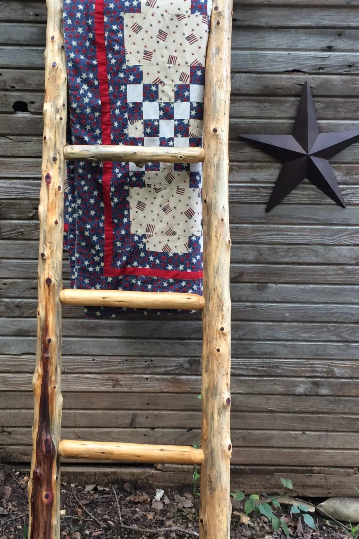 Log Quilt Ladder Rack Quilt Display Rustic Quilt Rack Rug