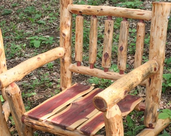 Free Shipping - Eastern Red Cedar Log Spindle Back Patio Chair - Rustic Patio Chair- Log Outdoor Chair