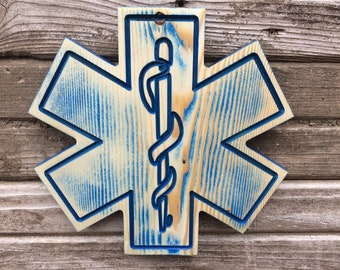 Rustic Blue Star Of Life Wall Hanging - EMS Star of Life - Paramedic Gift - First Responders - Fire and Rescue - Wood Star of Life  Wall Art