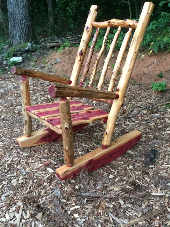 rustic cedar log rocking chair front porch rustic rocker poverty