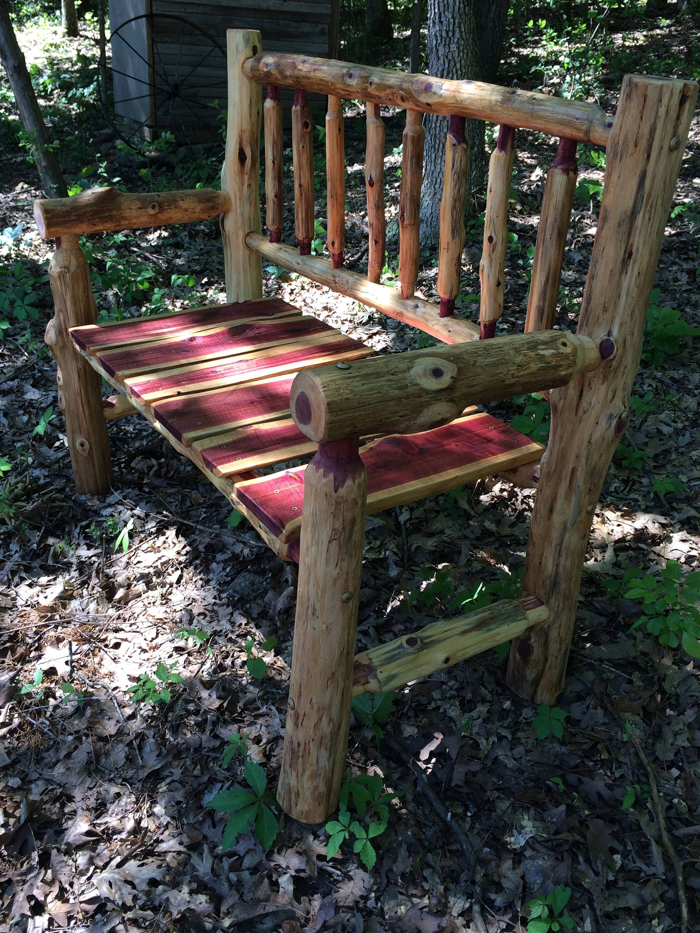 Free Shipping   4 Foot Rustic Log Porch Bench   Cedar Bench   Fire Pit  Bench   Rustic Patio Furniture   Wedding Gift   Outdoor Bench