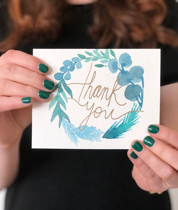 Thank You Card Blue and Grey Leaves Handmade