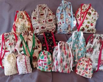 Reusable Fabric Christmas Gift Bag/Christmas/Small/Medium/Large/Holiday/Fabric Gift Bag/Cookie Bag/Treat Bag/Eco-friendly/Green
