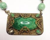 Czech Glass Necklace, Art Nouveau Peking Glass Flapper Necklace, 1920's