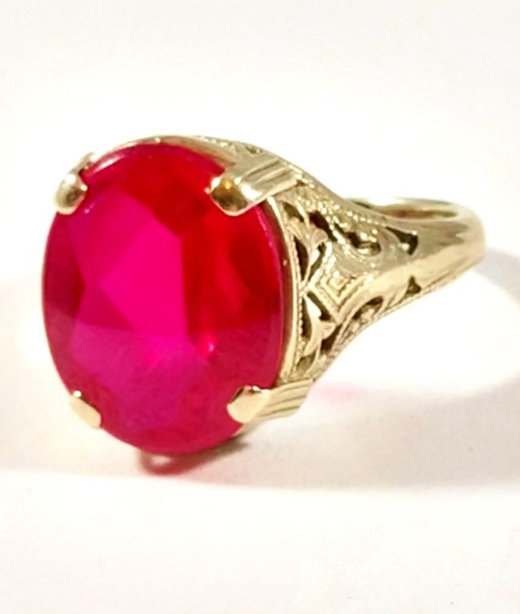 Art Deco Ruby Ring in 14k White Gold, 1920's