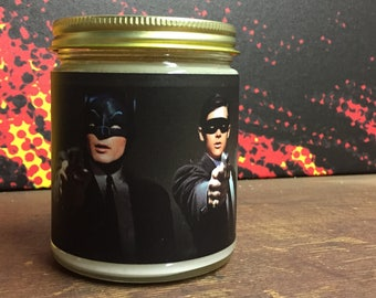 "Bat Fiction 100% Soy Candle - 9oz ""Spring Cleaning"" scent - Sun Candle Co. Artist Series"