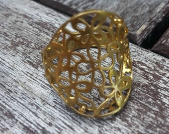 Flower Bridal Ring, Brass Ring, Geometric Ring, Brass Jewelry, Flower of Life