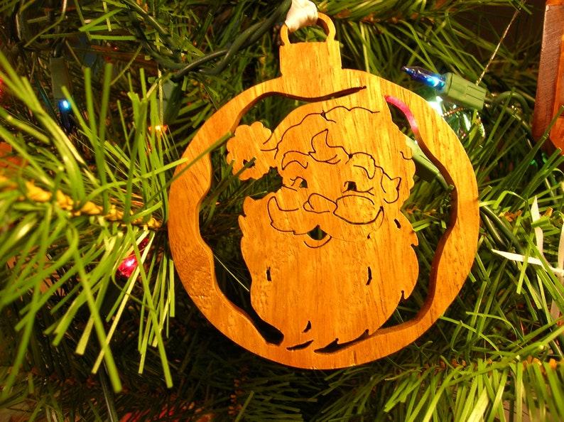 Santa Handmade Wooden Christmas Ornament #479