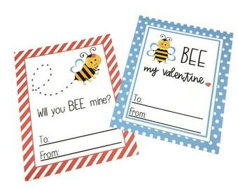 Bee Valentine - Printable Valentine - Preschool Valentines Day Card - Boy - Girl - Valentine Card - Digital Valentine -  Bee Mine