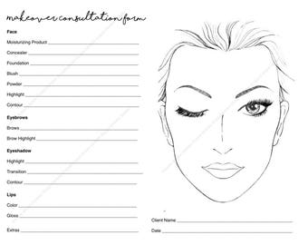 makeup consultation form makeover form makeup artist face chart product document makeup template digital copy unlimited prints