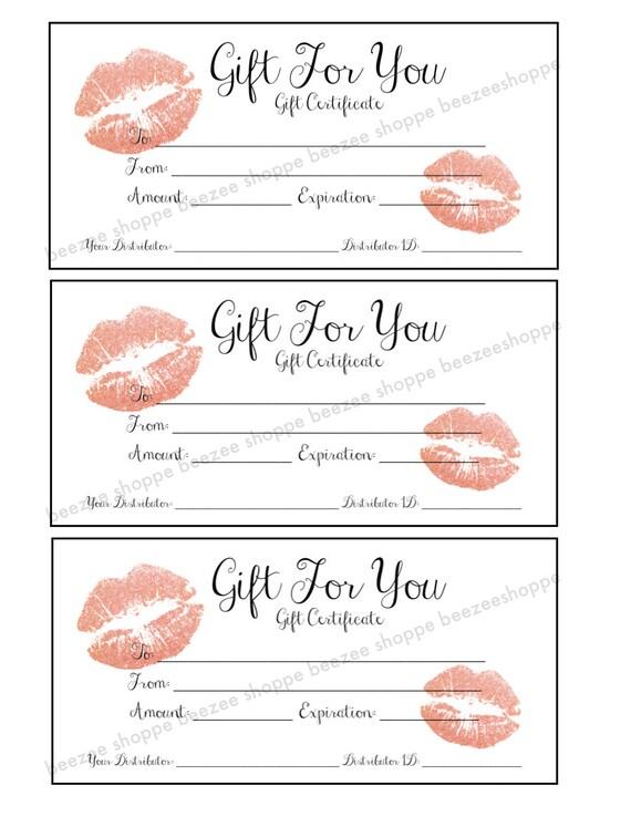 Lipsense Gift Certificate Senegence Gift Card Printable Etsy