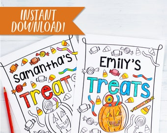 Halloween Printable Kids Activity and Coloring Pages / Personalized Halloween Coloring Sheet Set