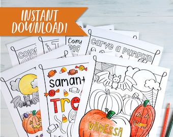 Personalized Halloween Printable Kids Activity and Coloring Pages BUNDLE / Downloadable Halloween Coloring Sheet Bundle