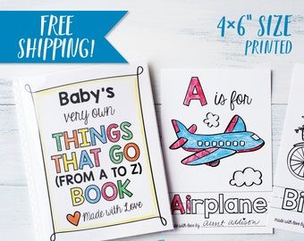 ABC Book Baby Shower Activity - Things that Go Transportation Coloring Keepsake / Construction Trucks / Boy Baby Shower / PRINTED 4x6