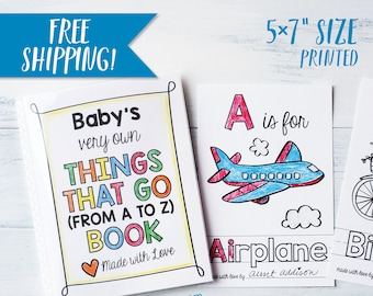 """ABC Book Baby Shower Activity - Things that Go Transportation Coloring Keepsake / Vehicles and Trucks / Boy Baby Shower / PRINTED 5x7"""""""