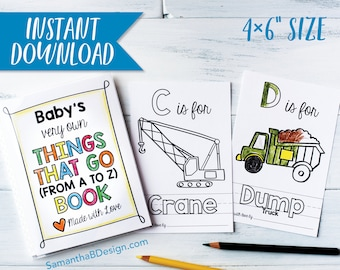 ABC Book Baby Shower Activity - Things that Go Transportation Coloring Keepsake / Construction Trucks / Boy Baby Shower / PDF Download 4x6