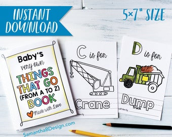ABC Book Baby Shower Activity - Things that Go Vehicles Coloring Keepsake / Boy Baby Shower / Construction Trucks / PDF Download 5x7
