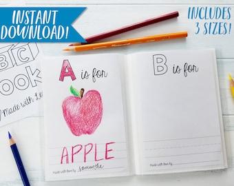 abc book template diy baby shower activity alphabet color etsy