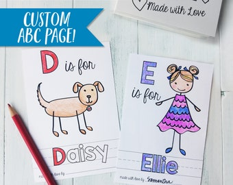 Personalized ABC Coloring Page Add-On for ABC Book Baby Shower Activity