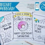 """Donut Birthday Party Coloring Sheets   Birthday Party Activity   Personalized   PDF Download 8.5x11"""""""