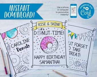 Donut Birthday Party Coloring Sheets Activity Personalized Page Kids Doughnut Sprinkles 85x11 PDF