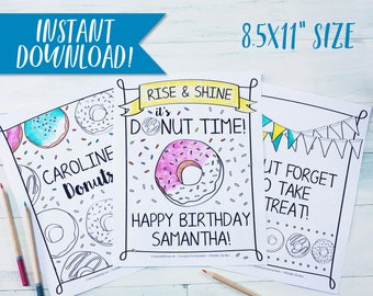 """Donut Birthday Party Coloring Sheets / Birthday Party Activity / Personalized / Coloring Page / Kid's / Doughnut / Sprinkles / 8.5x11"""" PDF"""