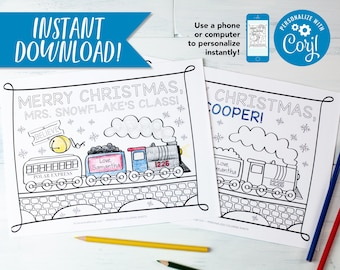 """Personalized Polar Express Train Christmas Coloring Sheet Design for Class Party / Multiple Download PDF 8.5x11"""""""