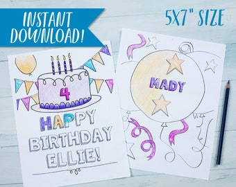 Birthday Coloring Pages Personalized Custom Cake Printable Balloon Confetti 4th 5x7