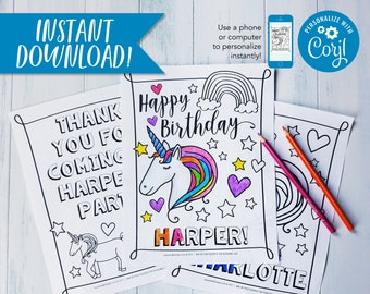 """Unicorn Birthday Party Personalized Coloring Sheet Party Favor or Activity  / PDF Download 8.5x11"""""""