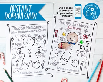 """Christmas Gingerbread Cookie Coloring Sheets / Personalized for EVERY kid / PDF Download 8.5x11"""""""