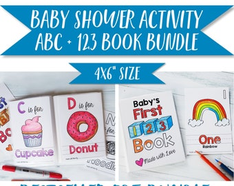 """ABC Book and 123 Book Bestselling Bundle / Baby Shower Activity Keepsake / PDF Download 4x6"""""""
