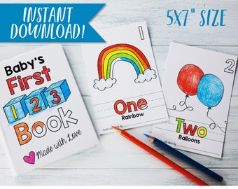 "Numbers Book Printable Coloring Baby Book 5""x7"" / Baby Shower Activity / ABC Book Companion / Alphabet Book / Download PDF"