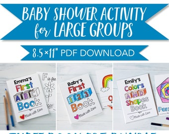 """ABC Book Baby Shower Activity Bundle for Large Group Baby Shower Activity / PDF Downloads 8.5x11"""""""
