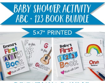 """Baby Shower Activity / ABC Book and 123 Book Coloring Activity BUNDLE / Printed 5x7"""" with Albums and Tent Sign"""