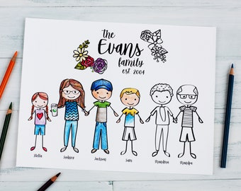 """Family Portrait Coloring Sheet Mother's Day Gift \ Custom Personalized Illustrated Family Drawing \ 8.5x11"""" PDF Download or Printed"""