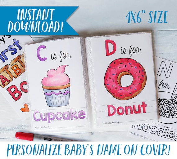 Alphabet Baby Shower Book Custom Coloring Books Baby Shower Etsy