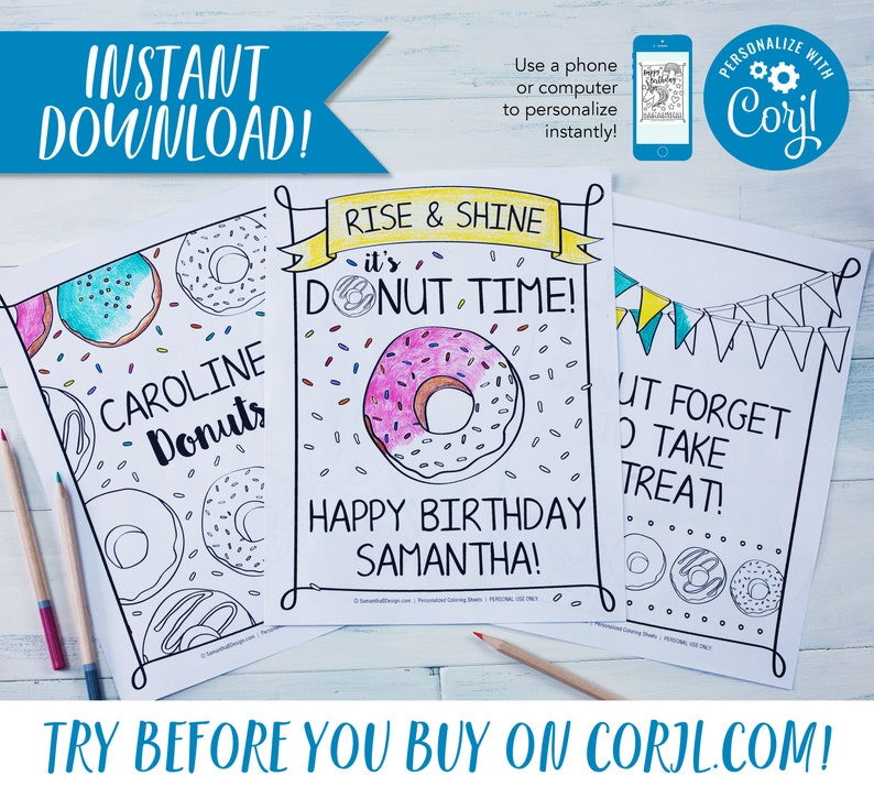 Donut Birthday Party Personalized Coloring Sheets Party Favor image 0