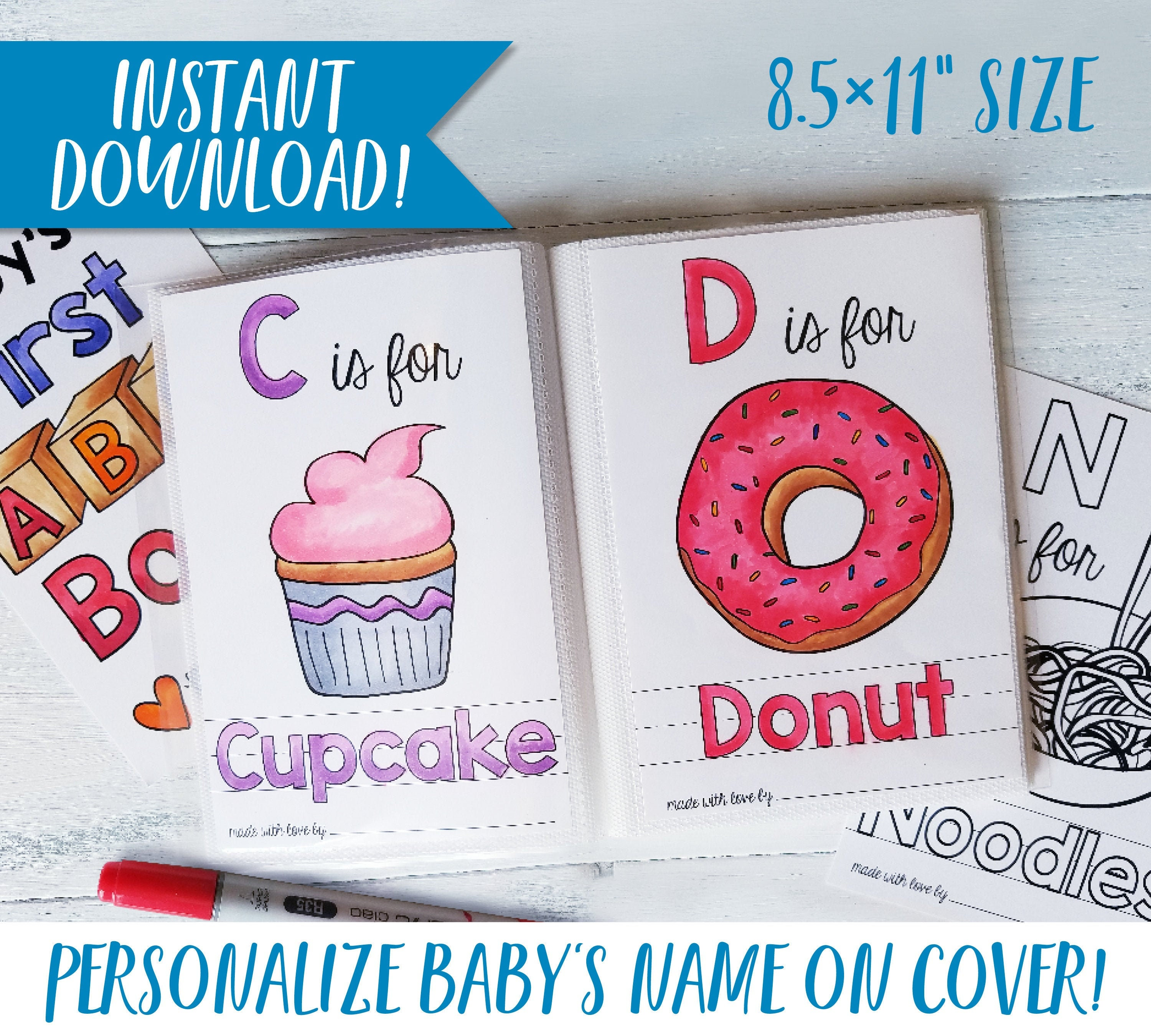 Printable ABC Book Baby Shower Activity / Alphabet Baby Book / Baby Shower  Game / PDF Download 20.20x20