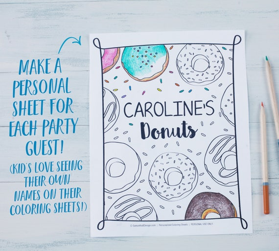 Donut Birthday Party Coloring Sheets / Birthday Party Activity | Etsy