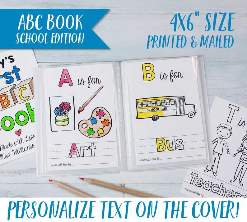 Personalized School Theme ABC Book / Baby Shower Activity for image 0