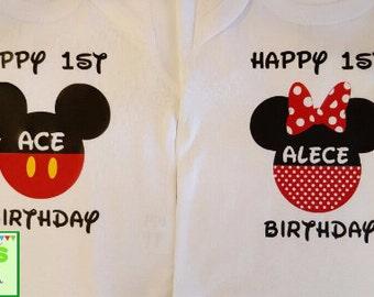 Mickey Minnie Birthday shirts, Disney family shirts, Disney family trip, Disney family vacation, Personalized shirts