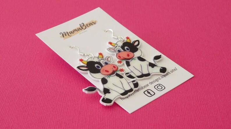Teacher Statement Farmyard Animal Earrings CUTE COW Earrings COW Dangle Earrings