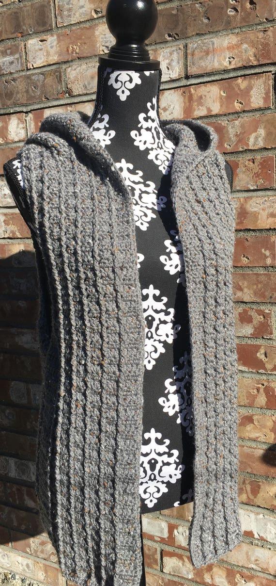 Hooded Sweater Vest Crochet Sleeveless Cardigan Etsy