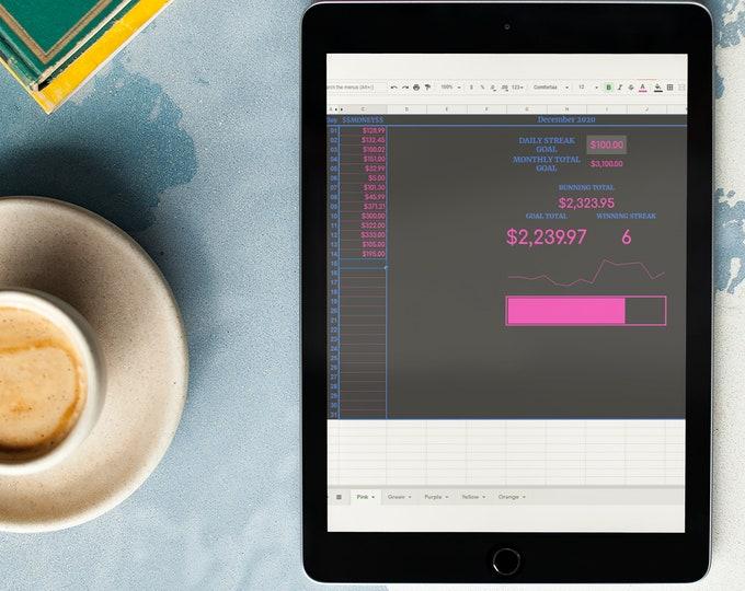 30 Day Money Challenge - Money Savings - Savings Tracker - Google Sheets - Spreadsheet