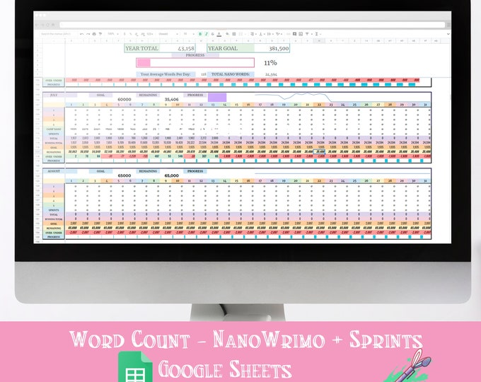 Lifetime Word Count Tracking Google Spreadsheet - Nanowrimo - Sprints - Camp Nano - Project Based