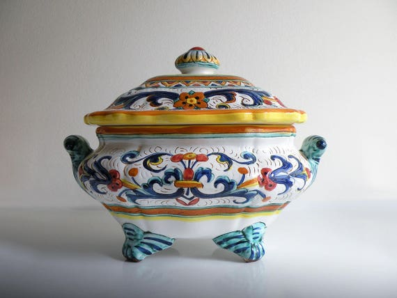 Centrotavola in ceramica deruta vintage etsy