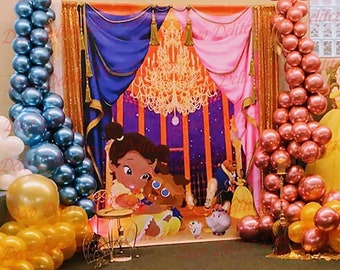 Beauty and the beast Backdrop Kids Birthday Party Baby Shower Photo Background