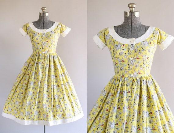 Jahrgang 1950 Kleid / 50er Jahre Baumwolle Kleid / Lanz