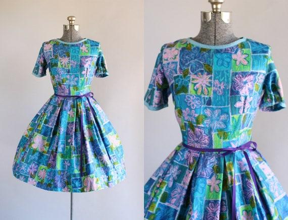 Jahrgang 1950 Kleid / 50er Jahre Baumwolle Kleid / blau und